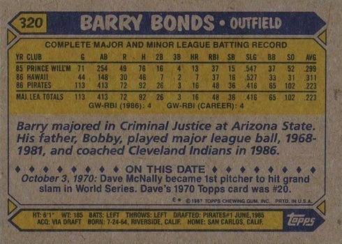 1987 Topps #320 Barry Bonds Rookie Card Reverse Side With Stats and Biography