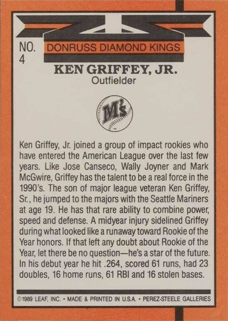 1990 Donruss #4 Ken Griffey Jr Diaond Kings Reverse Side