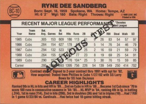 1990 Donruss Aqueous Test Ryne Sandberg Baseball Card