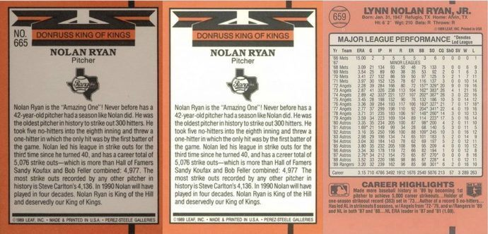 1990 Donruss King of Kings Nolan Ryan Baseball Card Reverse Side Variations