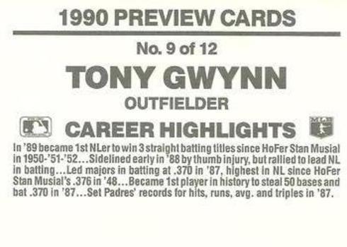 1990 Donruss Previews Tony Gwynn Baseball Card Reverse Side