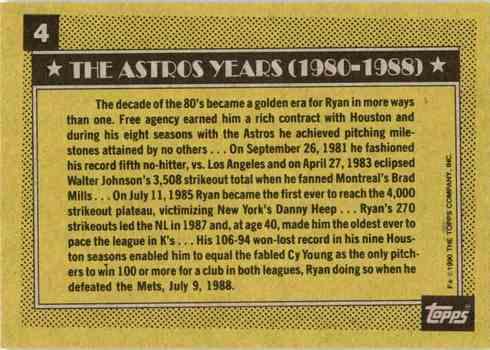 1990 Topps #4 Nolan Ryan Baseball Card Reverse Side Astros Career