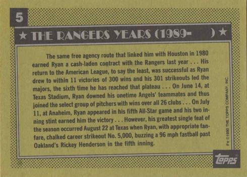 1990 Topps #5 Nolan Ryan Baseball Card Reverse Side Rangers Career