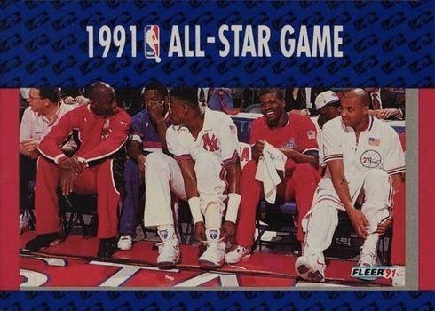 1991 Fleer #233 NBA All-Star Game With Jordan, Ewing, Barkley, Dumars and King Basketball Card
