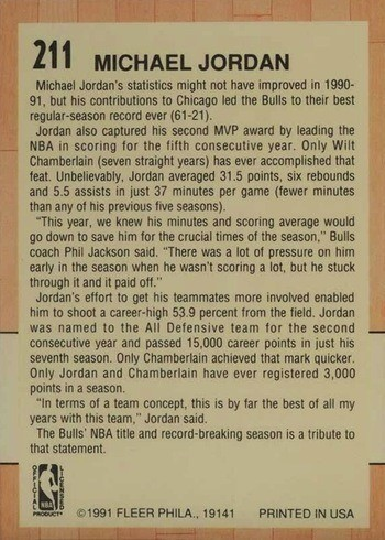 1991 Fleer #211 Michael Jordan All-Star Basketball Card Reverse Side