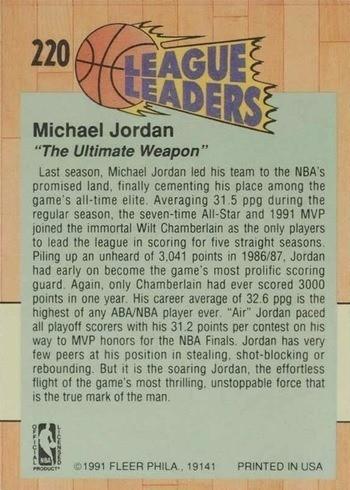 1991 Fleer #220 Michael Jordan League Leaders Basketball Card Reverse Side