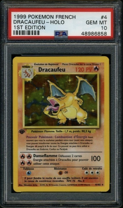 1999 Pokemon French First Edition Holographic Dracaufeu Charizard Card