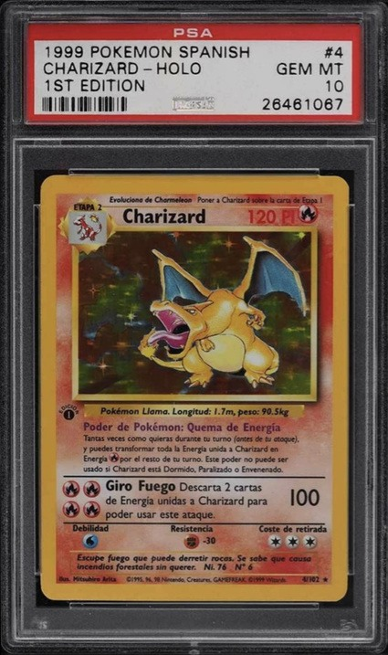 1999 Pokemon Spanish First Edition Holographic Charizard Card